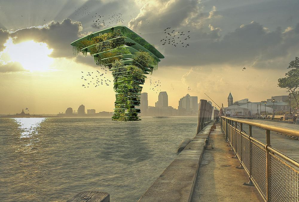 Olthuis' Sea Tree concept creates high density green spots where wildlife and plants can thrive
