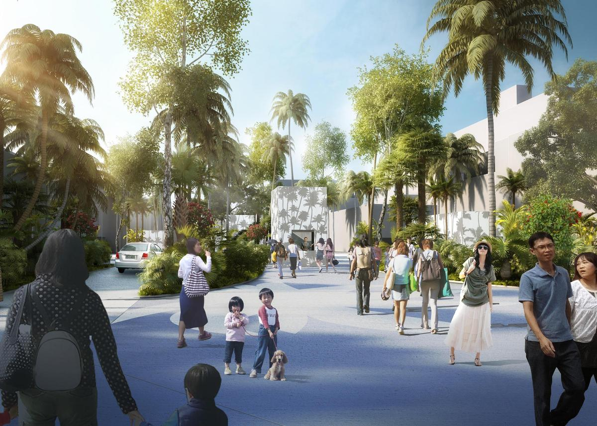 Trees and greenery will be introduced to the pedestrianised promenade linking the square to Tainan's canal network / APLUS CG