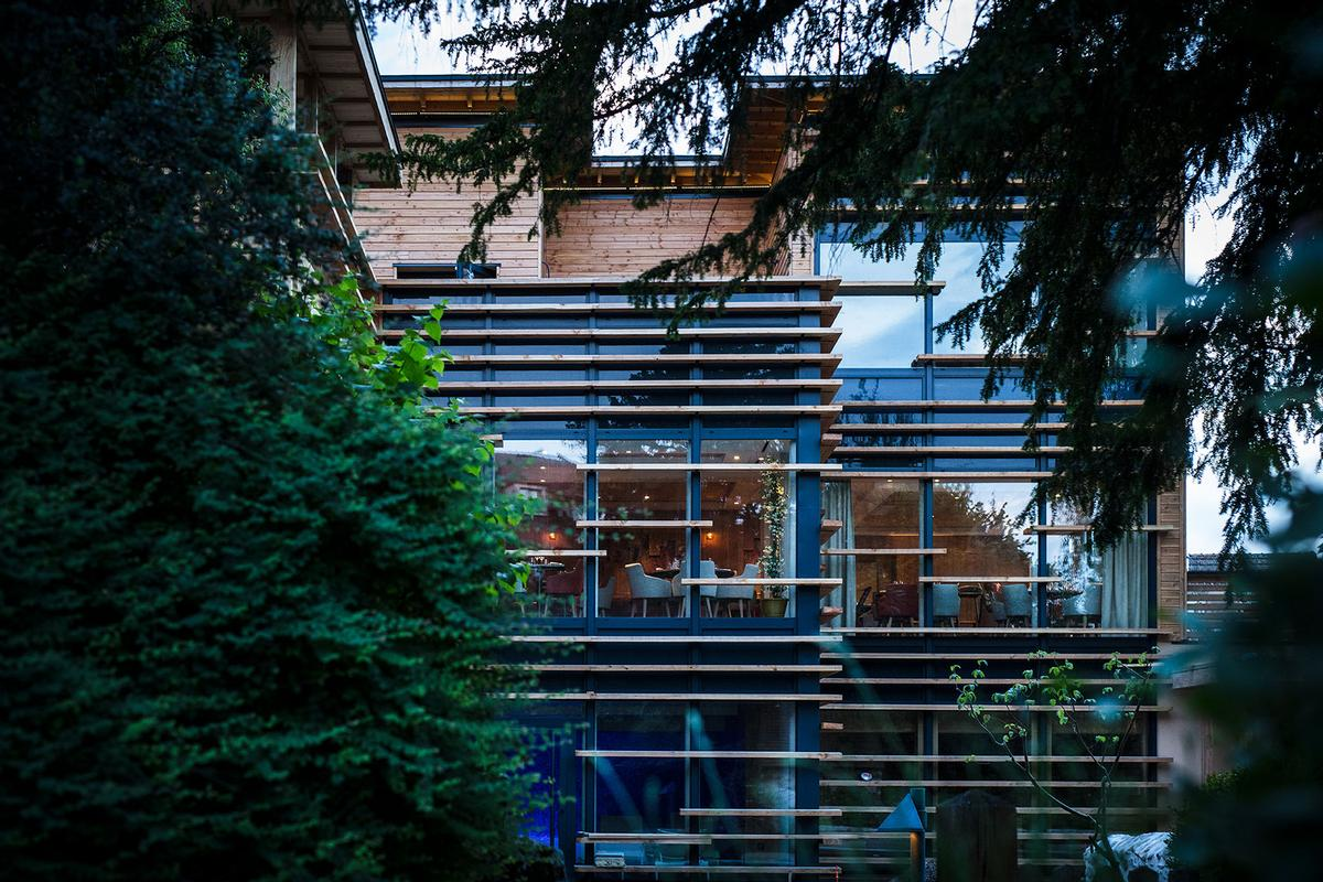 The wellness centre features a contemporary look, with Morvan douglas fir cladding and an oak staircase / @MatthieuCellard