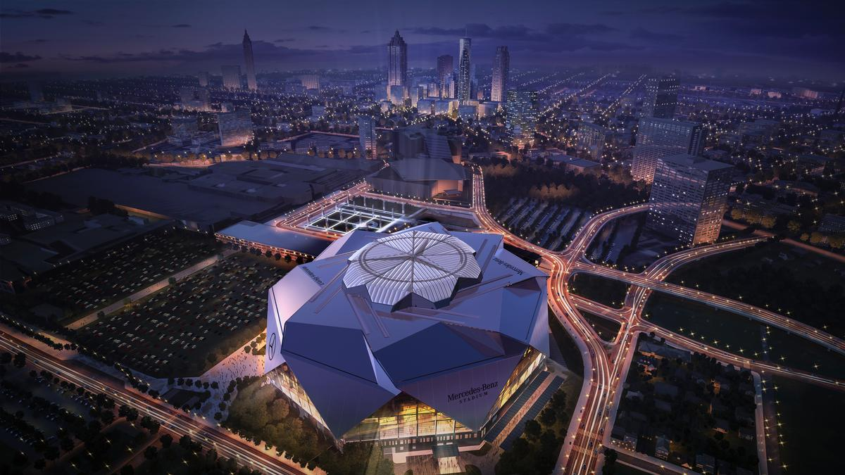 The design was inspired by the Roman Pantheon / Atlanta Falcons