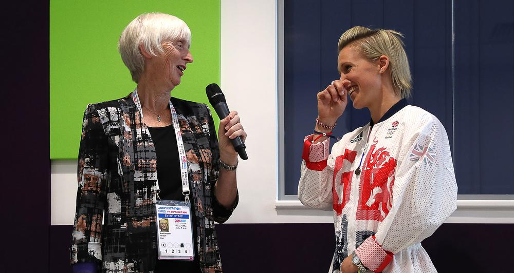 Former chair of UK Sport Sue Campbell talks to GB hockey player Alex Danson / simon cooper / press association
