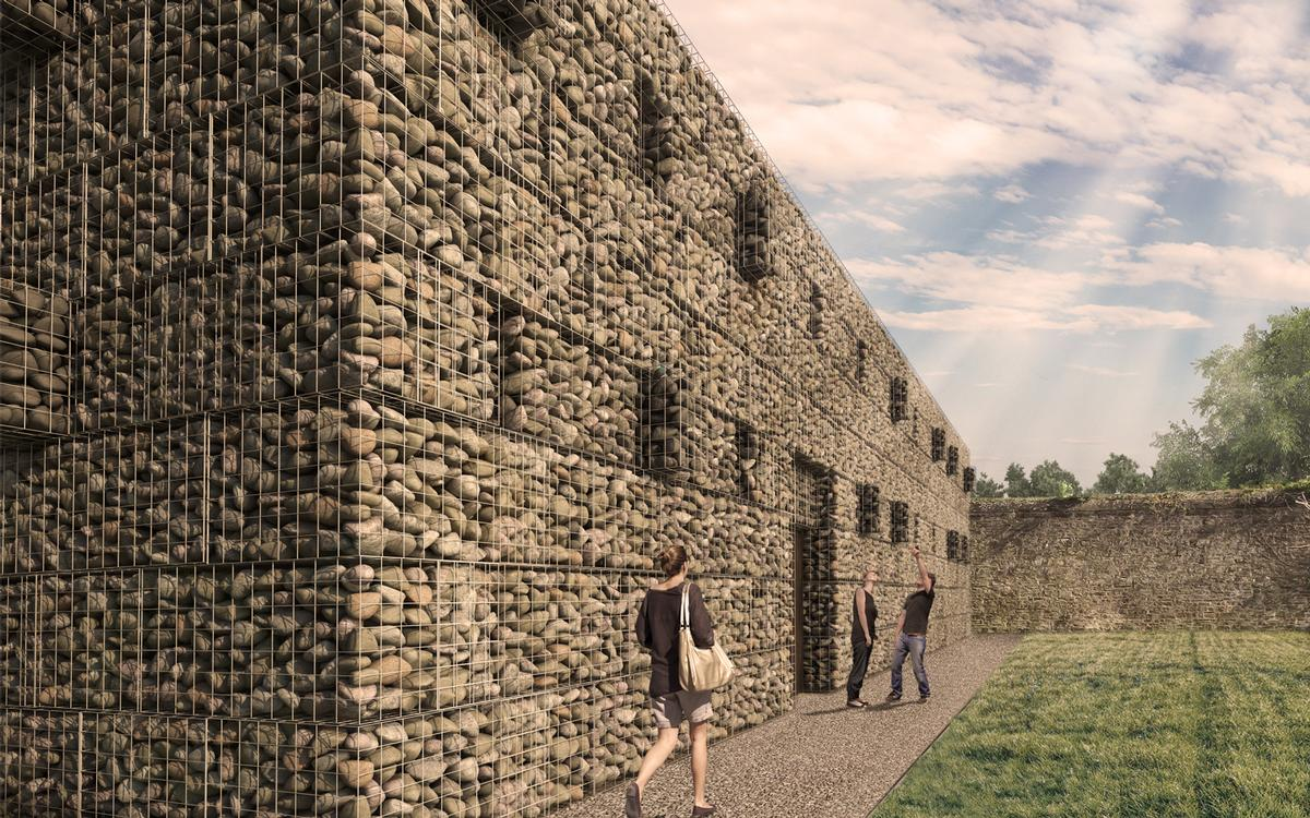 the new structure will be clad using stone gabions: a mesh of stainless steel cages containing hand-laid stones from a local quarry / Twelve Architects