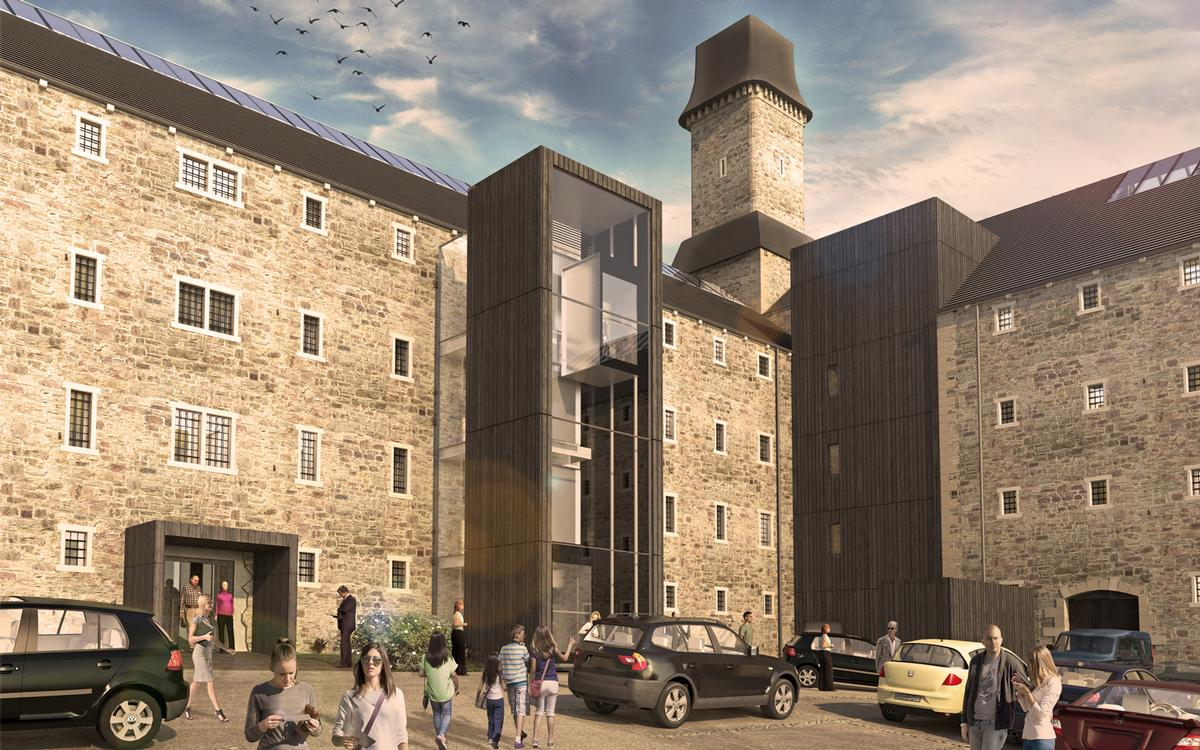 Twelve Architects scheme will see the complete refurbishment of the two wings of derelict cell blocks to house 63 hotel rooms / Twelve Architects