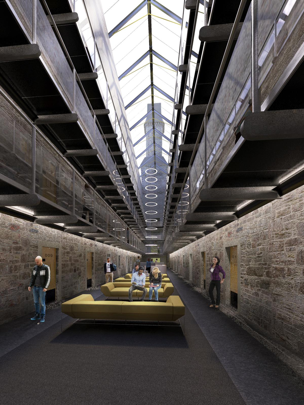 A glazed rooflight running the length of both wings will create the hotel's central atrium / Twelve Architects