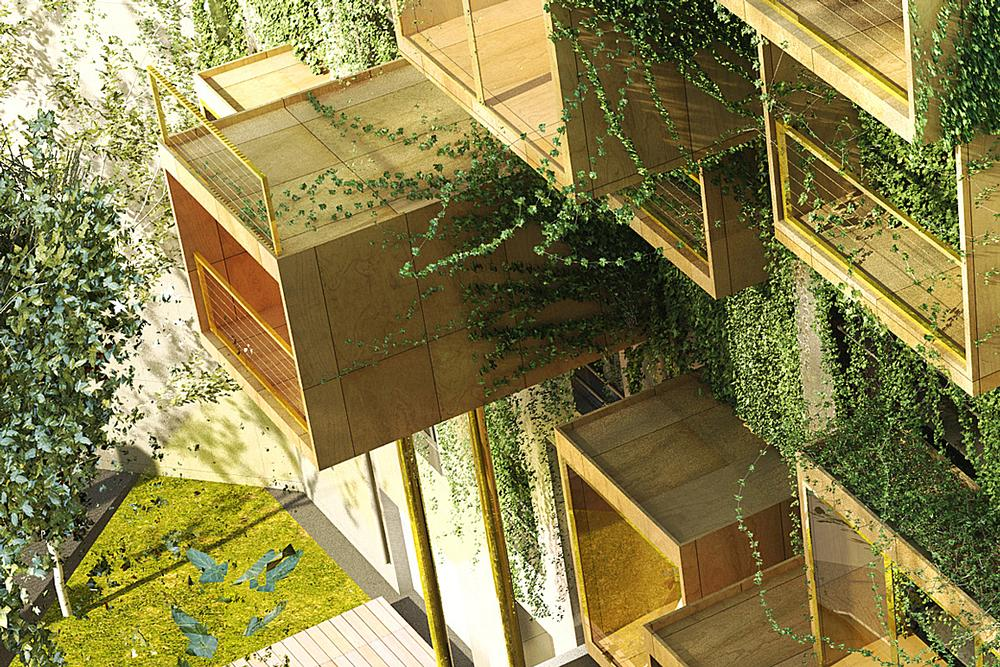 Modular prefabricated boxes will be grafted onto the building's existing exterior / Malka Architecture