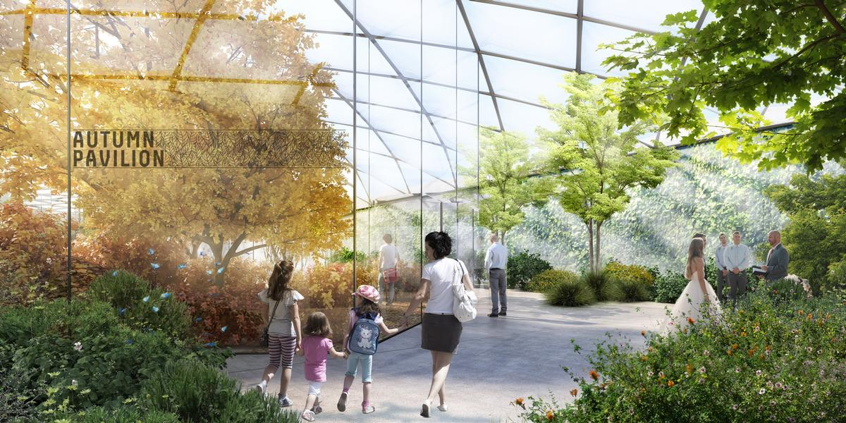 Hundreds of vegetable species are planned to be housed under a transparent, responsive  membrane that uses sensors to open and close in order to regulate the environment / CRA