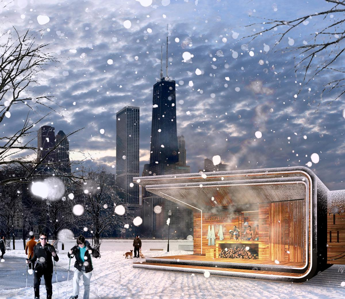 The spa kiosks were the team's idea to bring people to the lakefront during the cold winter months / Urban Therme