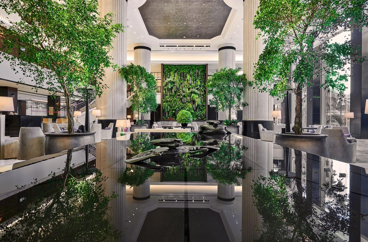 The Hotel Lobby Has Been Re Designed To Resemble An Indoor Garden Featuring  A Living Wall Of Live Plants, Symbolising A Mountain / Shangri La