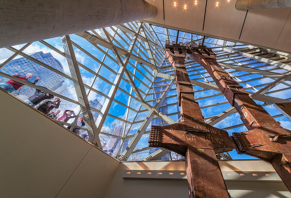 Two structural columns rescued from the original towers stand in the atrium / PHOTO: © JEFF GOLDBERG/ESTO