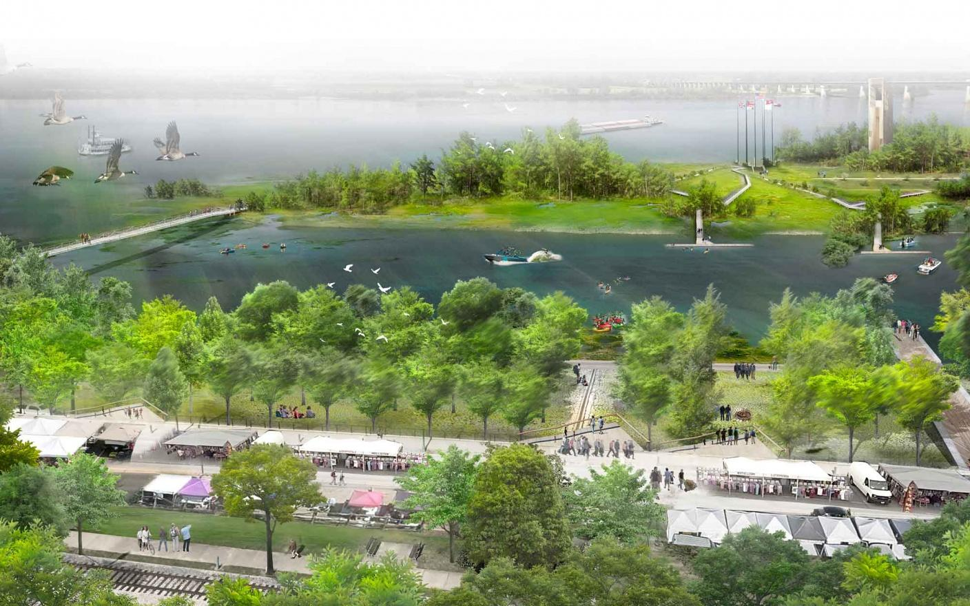 A cultural pavilion, a live music stage, an adventure playground, several trails and an elevated walkway across the city's native wetlands are all proposed for the site / Studio Gang