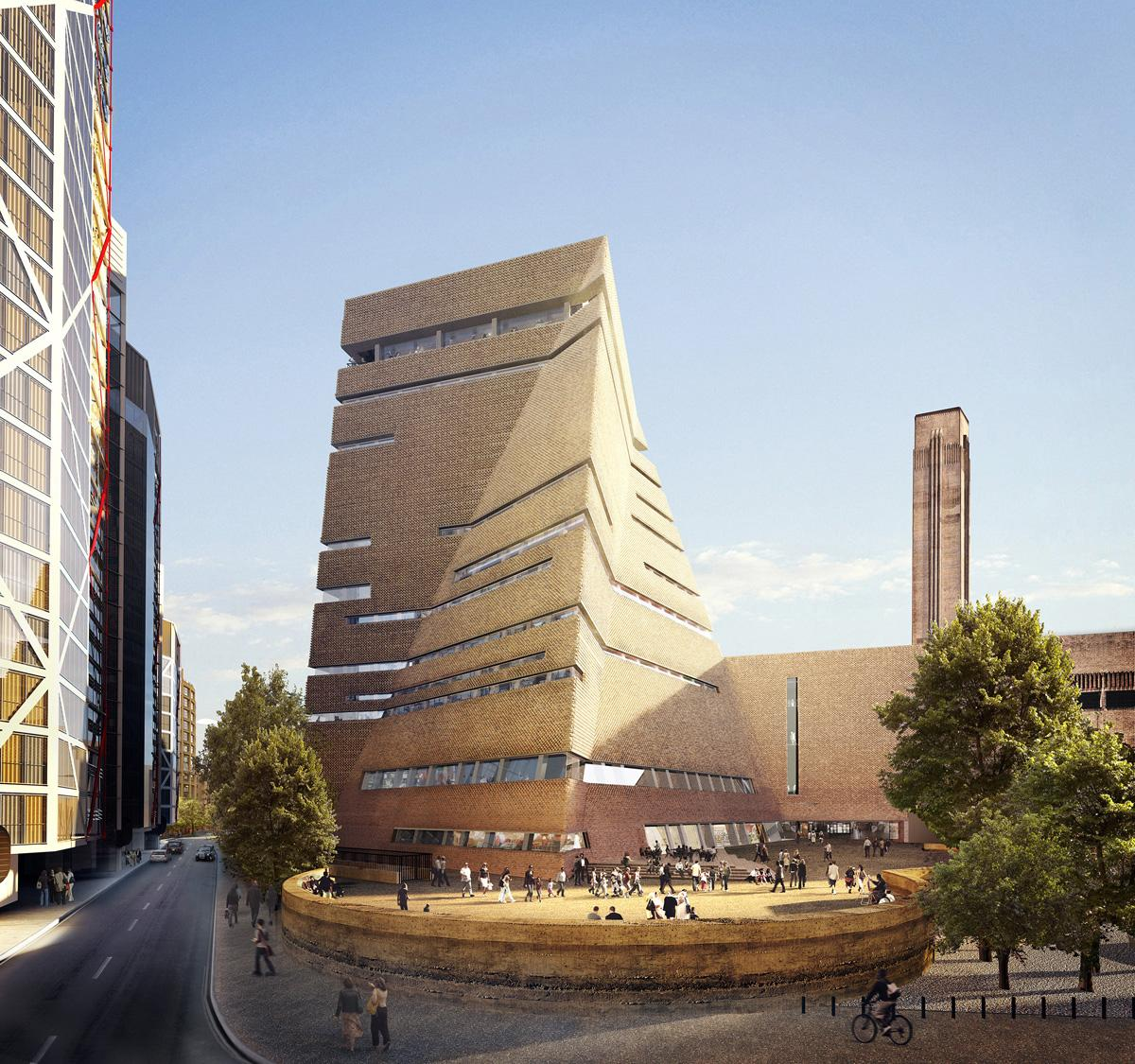 Rendering shows the exterior view of the Tate Modern extension from the south / © Hayes Davidson and Herzog & de Meuron