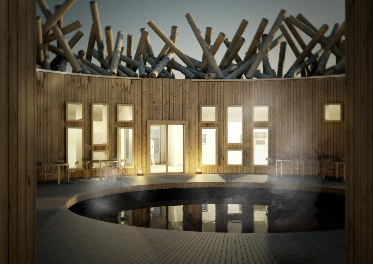 The spa buildings will encircle an open-air cold bath / Arctic Bath AB.