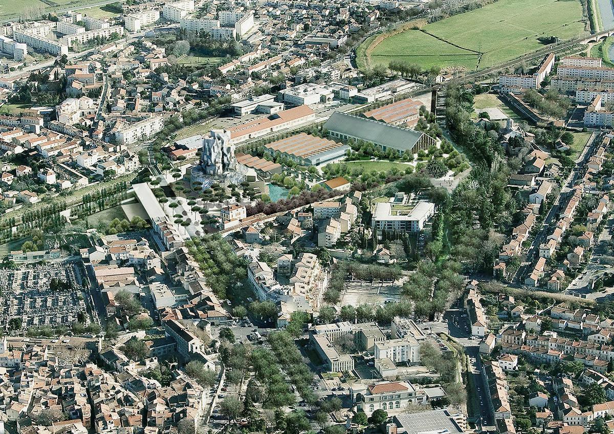 The complex will sit within a public park designed by landscape architect Bas Smet / Bureau Bas Smets