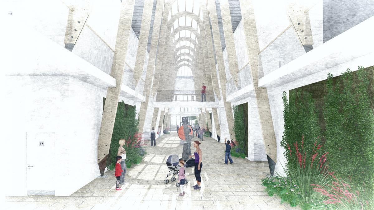 Designed by architects Burke Rickhards, the centre will feature an indoor street and winter garden running through the spine of the building
