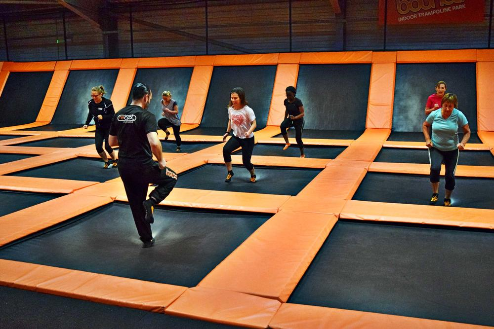 Trampoline parks offer a high-energy, intensive workout that's also fun