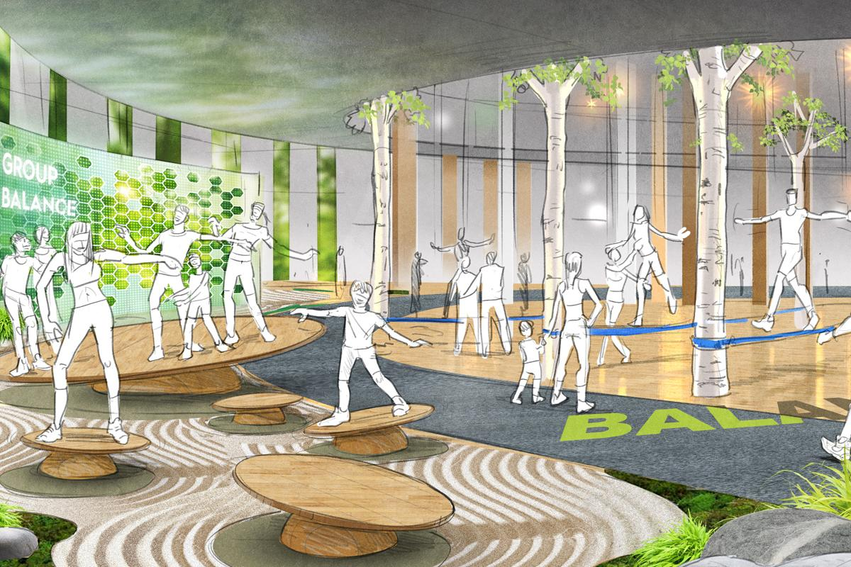 Artist's impression of the balance zone at The Mirai