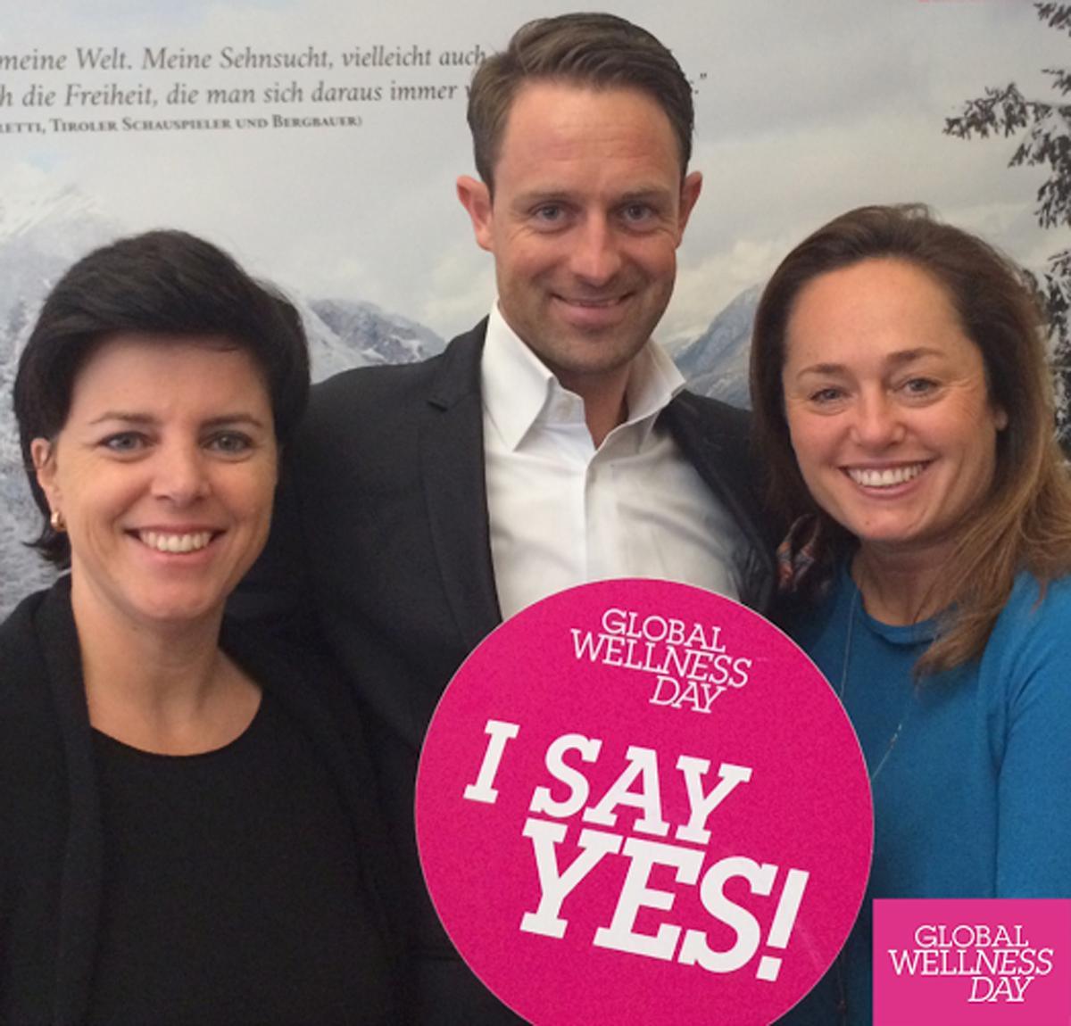 Karin Seiler-Lall (left) of Tirol Tourism, Adrian Egger (centre) of Thermarium Bäder-Bau and Claudia Knab of Tirol Tourism all said yes to Global Wellness Day / Global Wellness Day