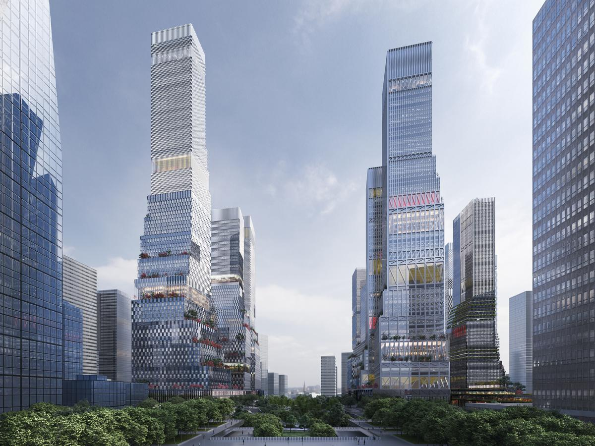 """'Rather than define the exact shape of the towers, the design establishes rules which ensure coherency yet encourage a degree of variation,""""' said Mecanoo   / Mecanoo"""