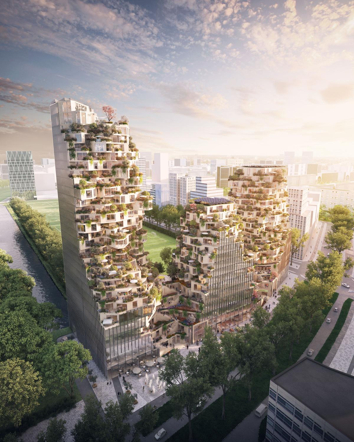 The building, called Valley, will have three towers of varied heights, reaching up to a maximum of 100m, with a series of terraces ascending each / MVRDV