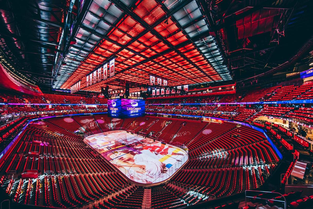 Designed by sports architects HOK, the arena covers a 895,000sq ft (83,000sq m) site and stretches 460 ft (140.2m) from north to south / The District Detroit