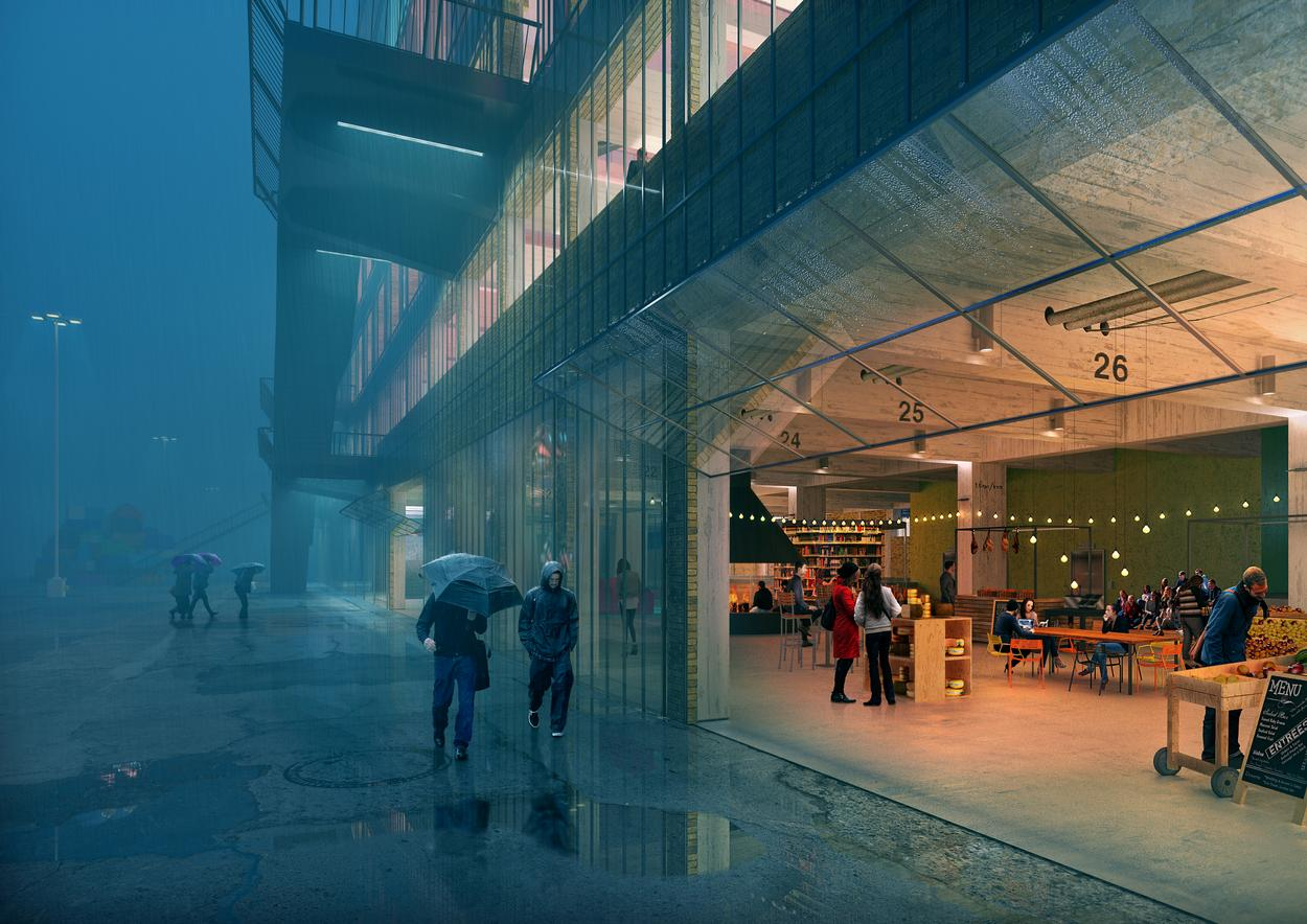 To combine the need for insulation and the desire to maintain the existing brick façade, a transparent glass protective 'raincoat' will be wrapped around the existing warehouse / MVRDV