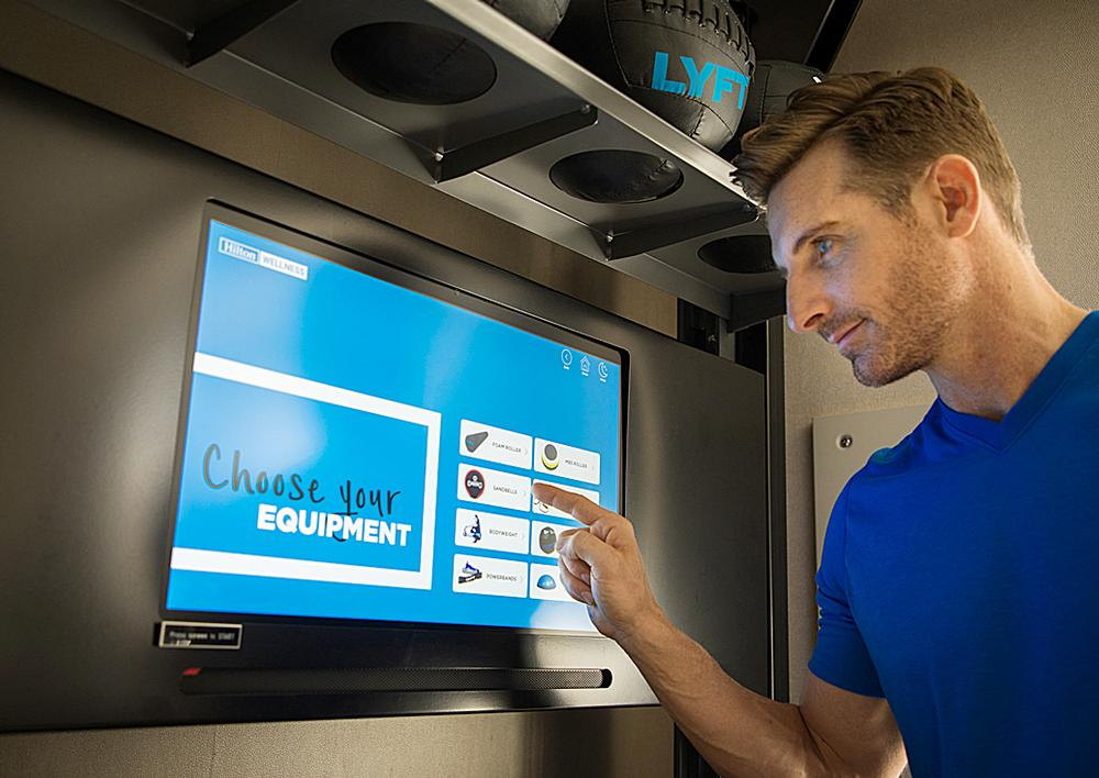 The Fitness Kiosk is a touch-screen display where guests can get equipment tutorials