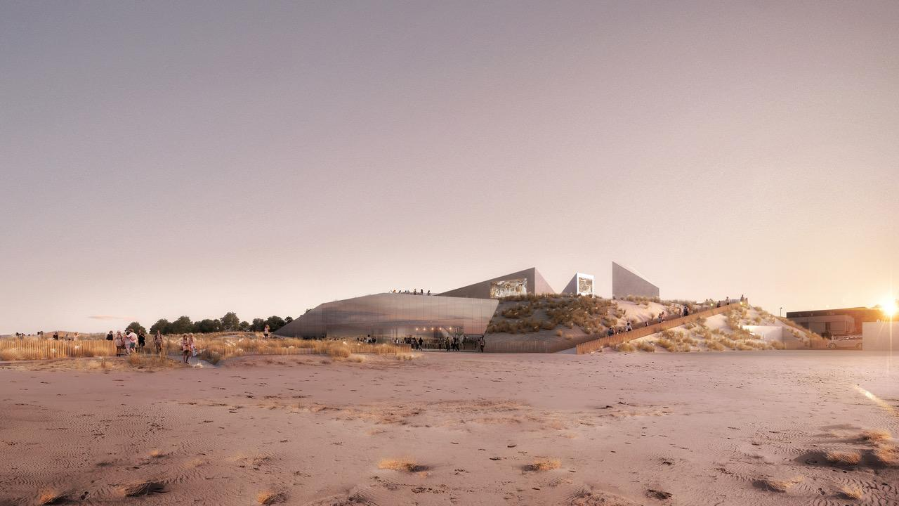 Located on Sword Beach, facing the English channel, the attraction will explore and celebrate the shared social history and culture of the two countries / Phileas
