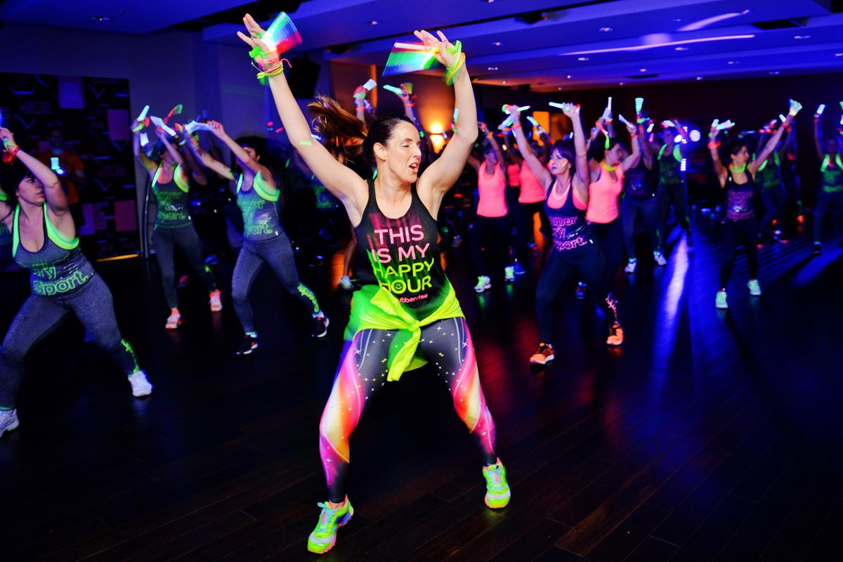 Claire Burlison Green taking part in a Clubbercise class