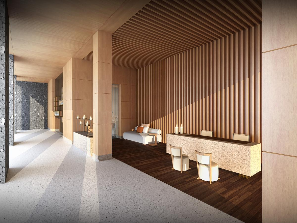 The interior of the spa are designed to provide an escape from the day's activities, but the exterior faces the resort's centre courtyard