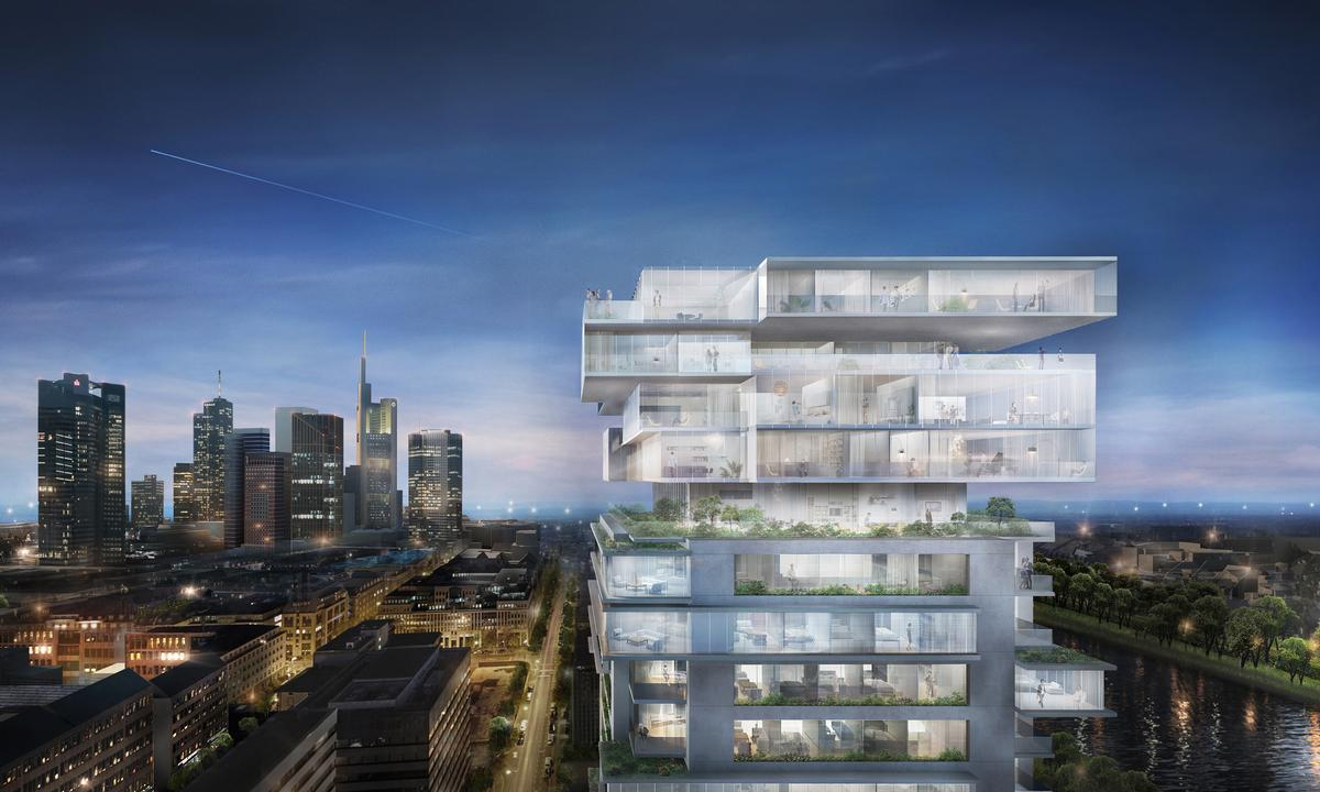 Riverpark Tower, commissioned by developer GEG German Estate Group, will emerge through the conversion of a forty-year-old concrete office building / Buro Ole Scheeren