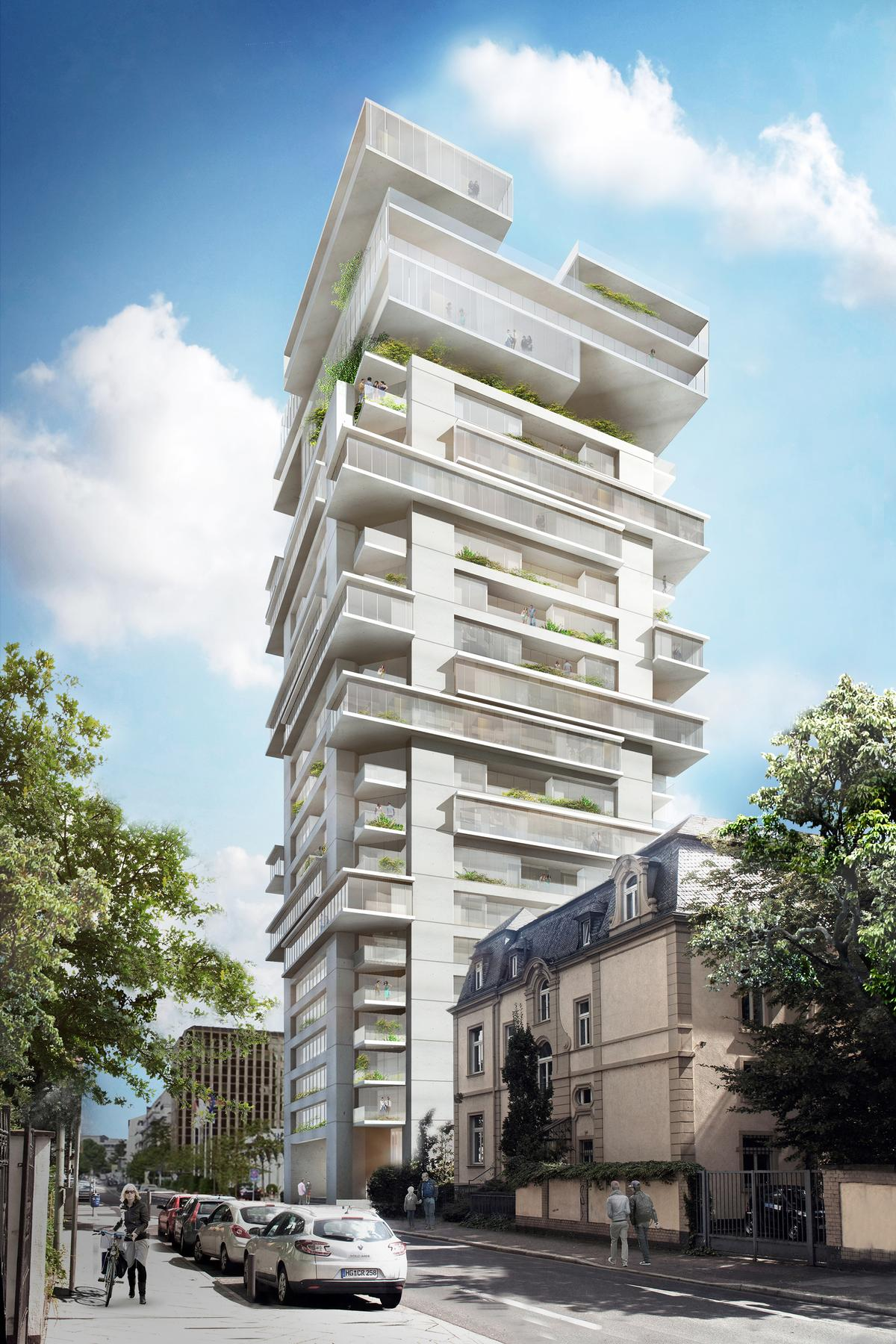 The building will house 220 residential units across 23 floors, and leisure facilities will include a cafe, a lounge, a gym and a fitness suite / Buro Ole Scheeren