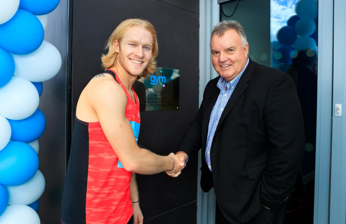 Double Paralympic champion Jonnie Peacock with CEO of The Gym Group John Treharne / The Gym Group