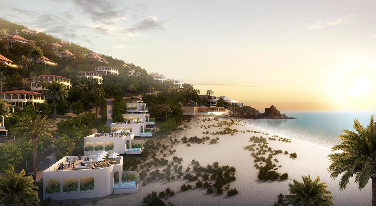 The design team plan to keep the density of the development low by placing individual villas and the smaller building types around the main mountain of Cape Dinh