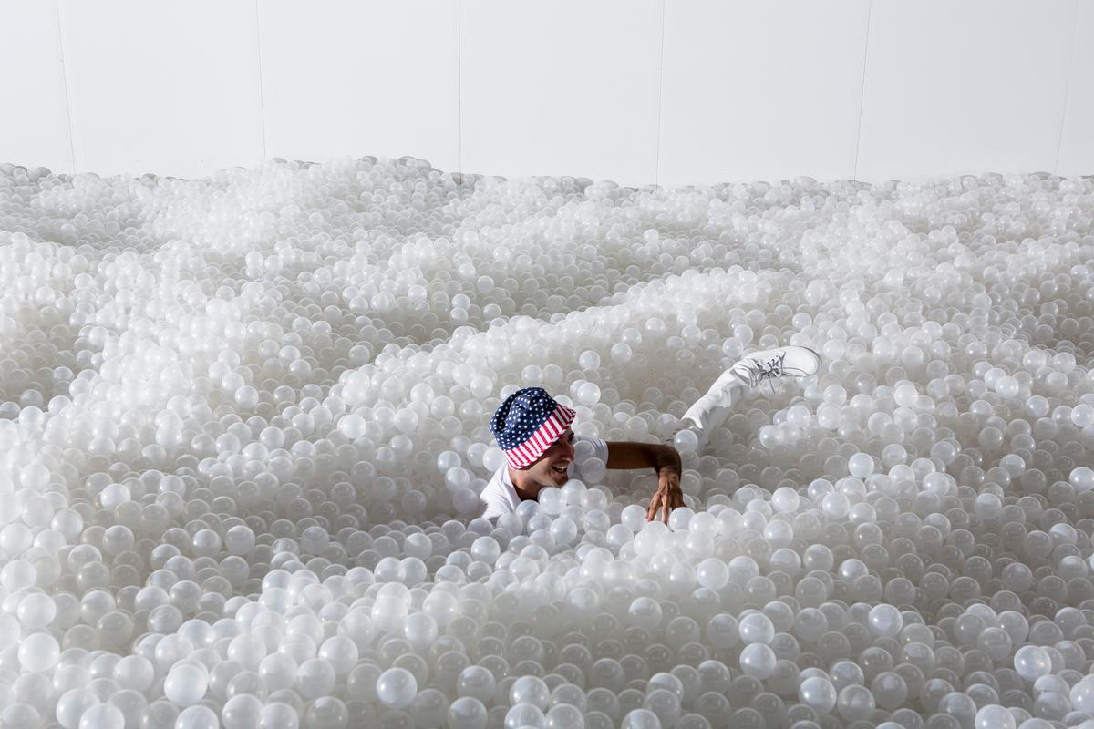 Visitors can 'swim' at the interactive exhibit / Noah Kalina