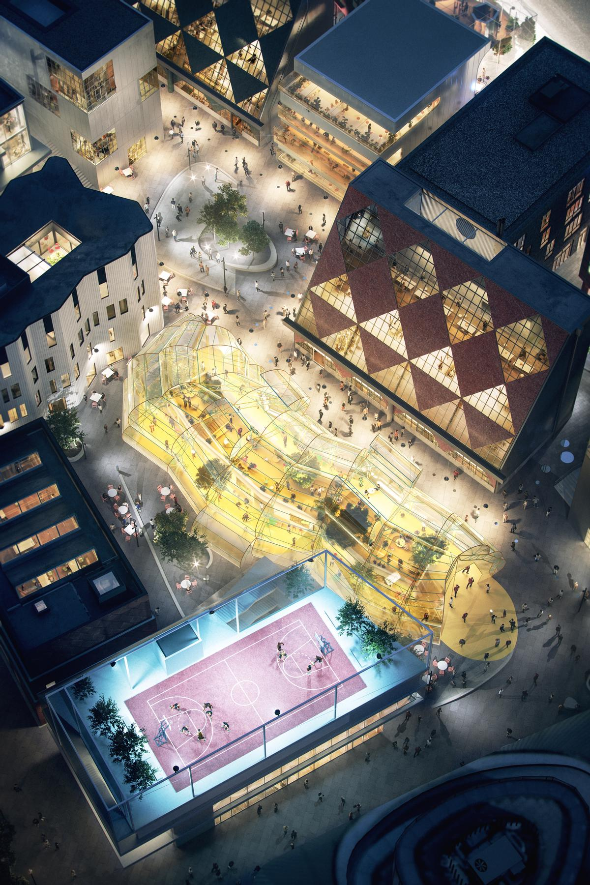 To mix and juxtapose architectural voices, eight emerging architectural practices have been selected from across Europe to create the district's 16 low-cost, human-scaled buildings / Knight Dragon and Uniform