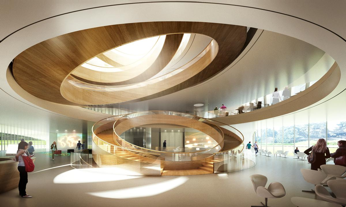 A large interior staircase is inspired by the Olympic rings / Forbes Massie