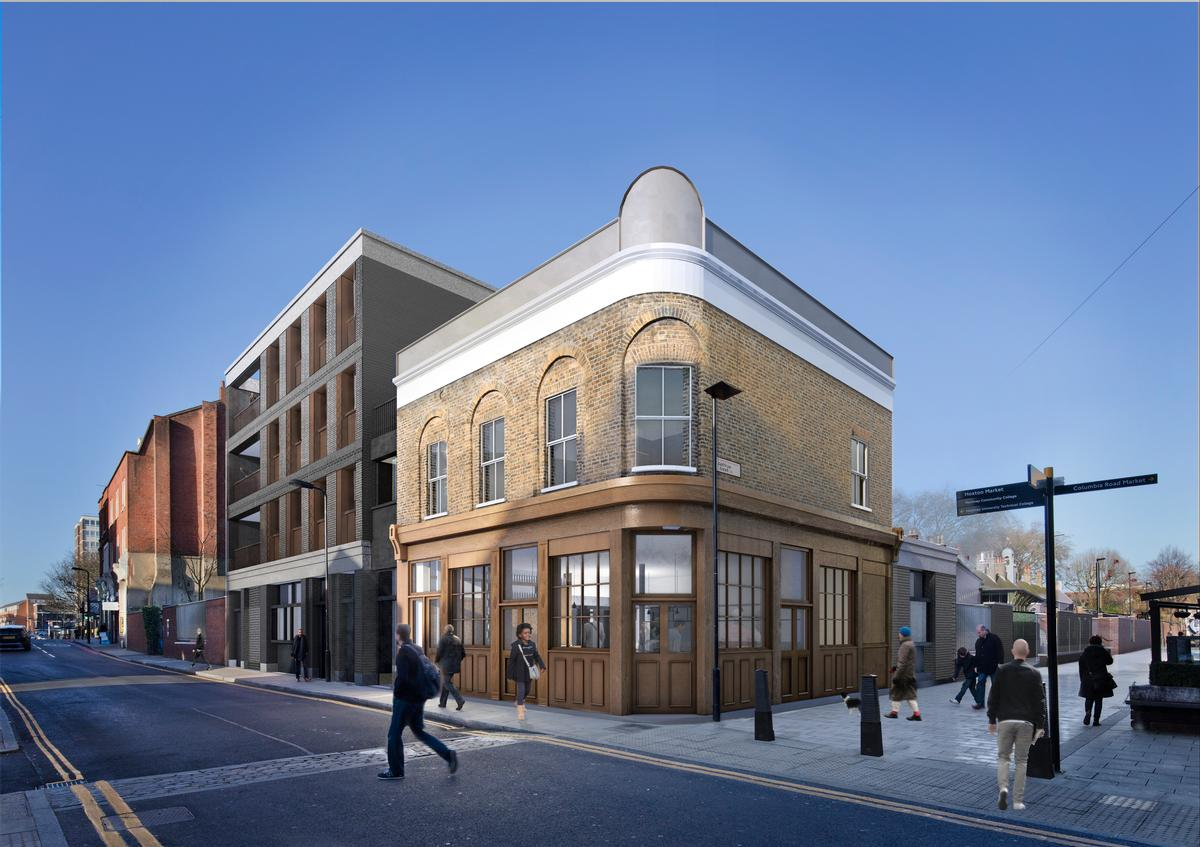 An old pub on the site will be restored, expanded and opened as a museum café / Wright & Wright Architects