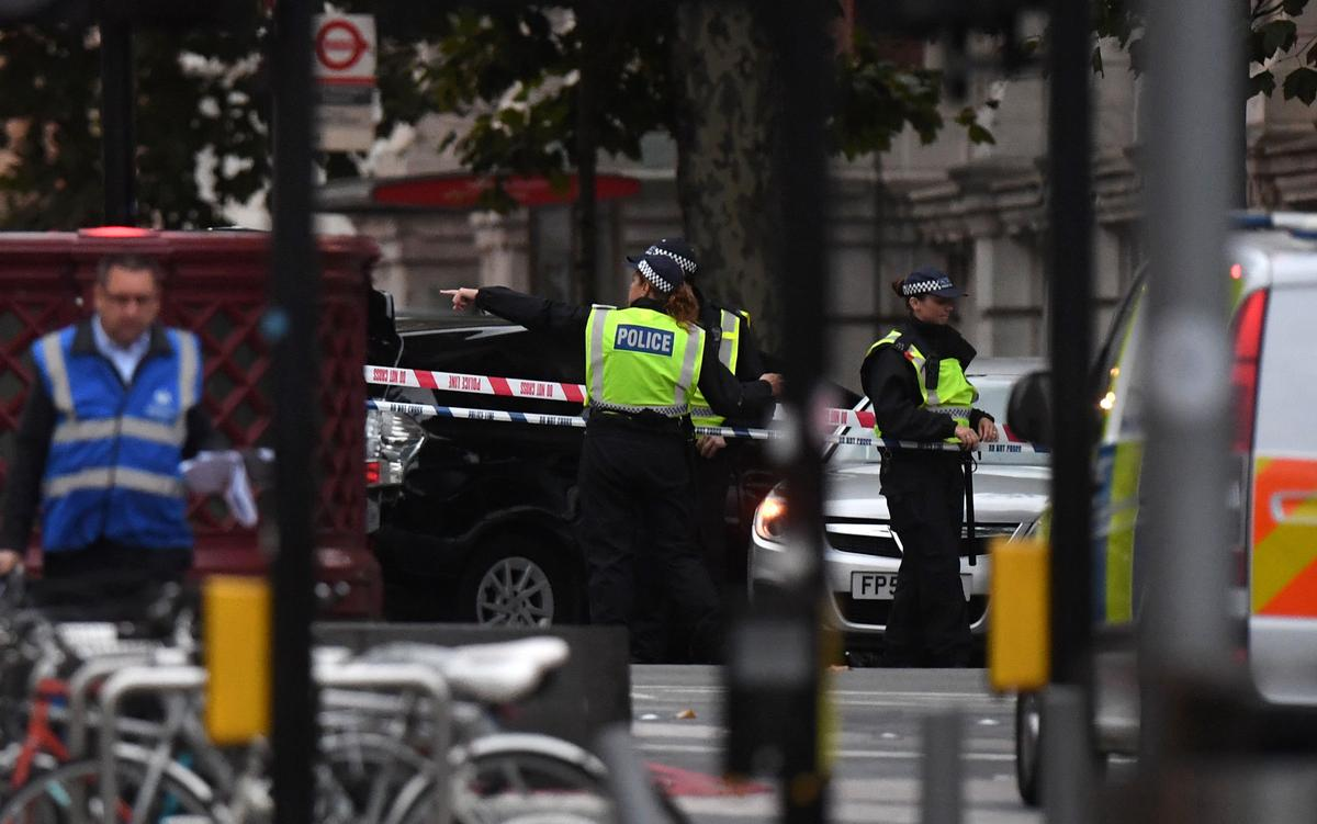Police were quickly on the scene after a car ploughed into people outside the Natural History Museum in the partially-pedestrianised zone / Victoria Jones/PA Wire/PA Images