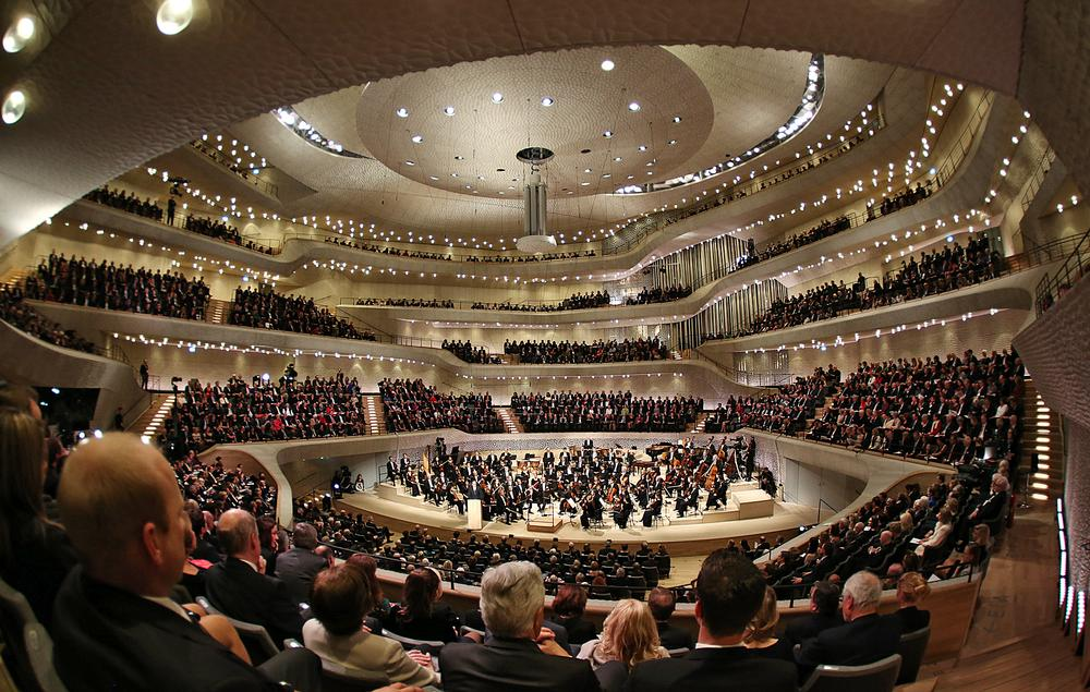The 12,500 tonne concert hall is completely detached from the rest of the building / PA