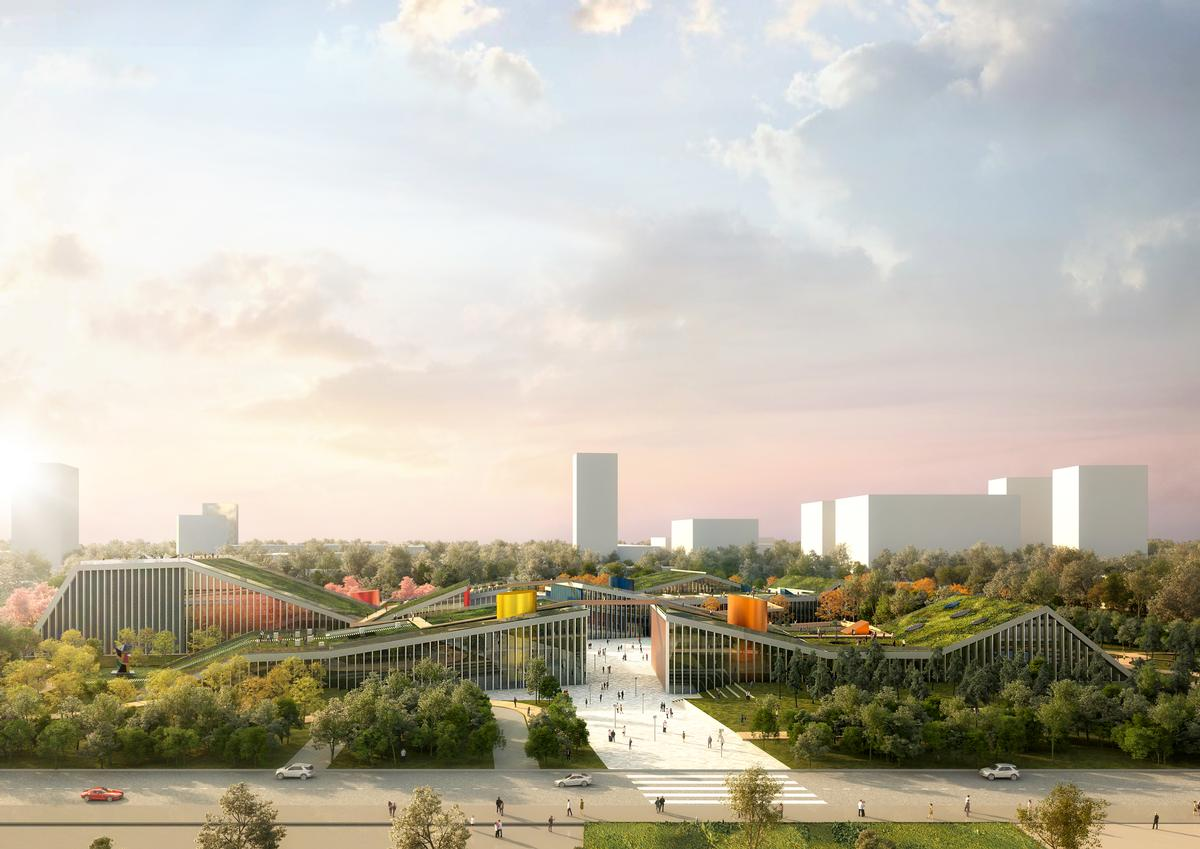 The four distinct buildings have been designed 'to emerge from the ground like silhouetted cracks in the landscape' / MVRDV