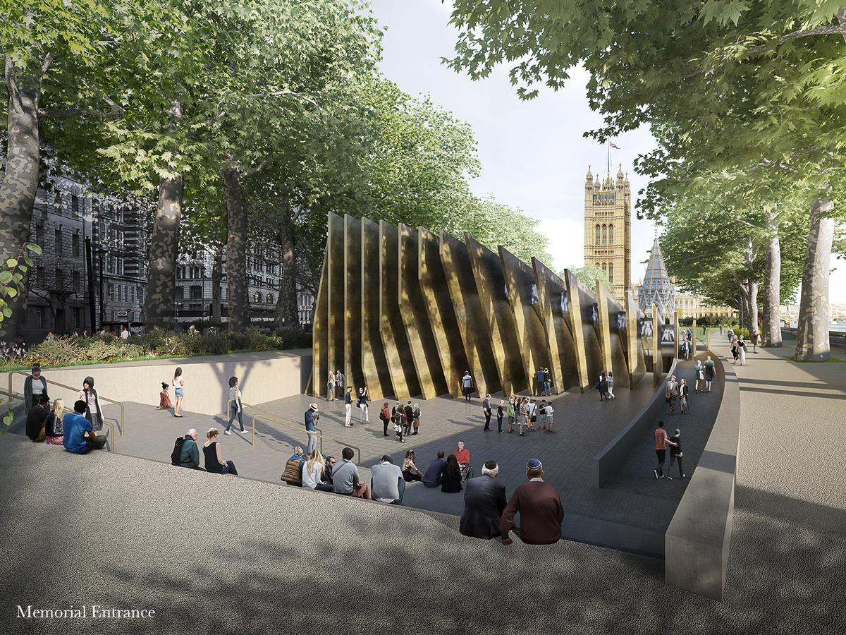 The winning design concept was inspired by research into the site at Victoria Tower Gardens, with Sir David Adjaye describing the location as a 'park of Britain's conscience' / Adjaye Associates and Ron Arad Architects