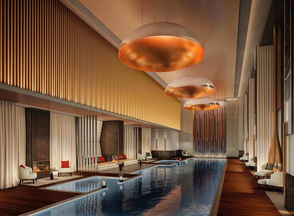 The Aman Spa will be located on the 7th, 8th and 9th floors, and the centrepiece will be a dramatic 25m (82ft) indoor swimming pool surrounded by fire pits and alcoves of double daybeds