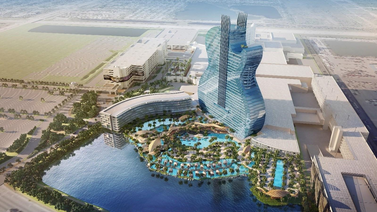 The resort will feature a 450ft high tower shaped like back-to-back guitars / Hard Rock International