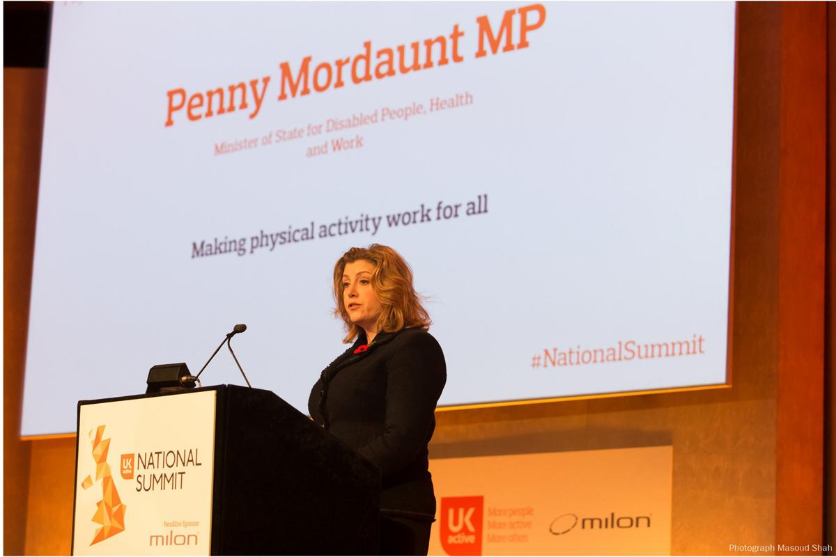 MP Penny Mordaunt speaking at the ukactive National Summit in Westminster / Masoud Shah