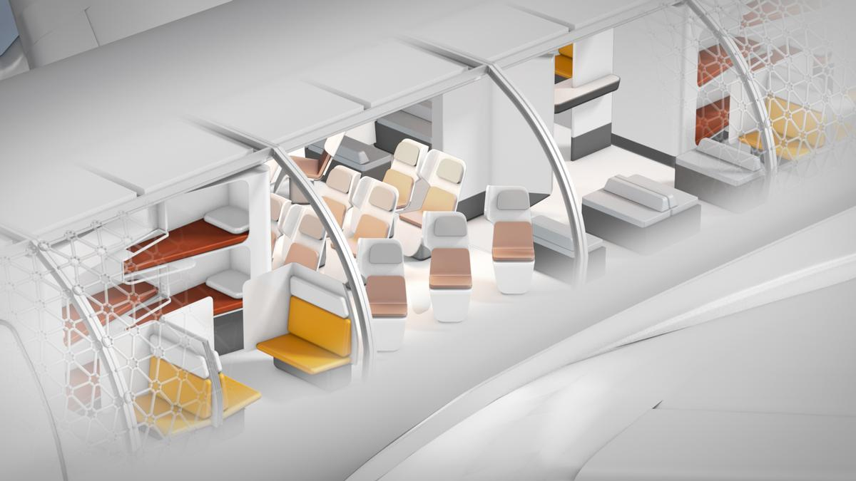 The concept is to create modulars cabins with simplified and standardised interfaces that enable large sections to be quickly switched out, depending on the requirements of passengers / Transpose