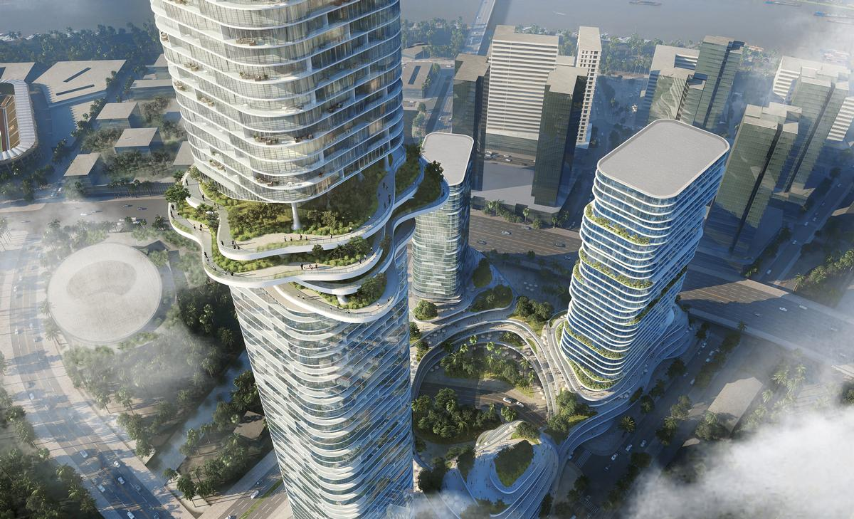 The largest building, called 88 Tower, will reach a height of 333m and is due to be topped by a public observation deck, called Cloud Space / Buro-OS