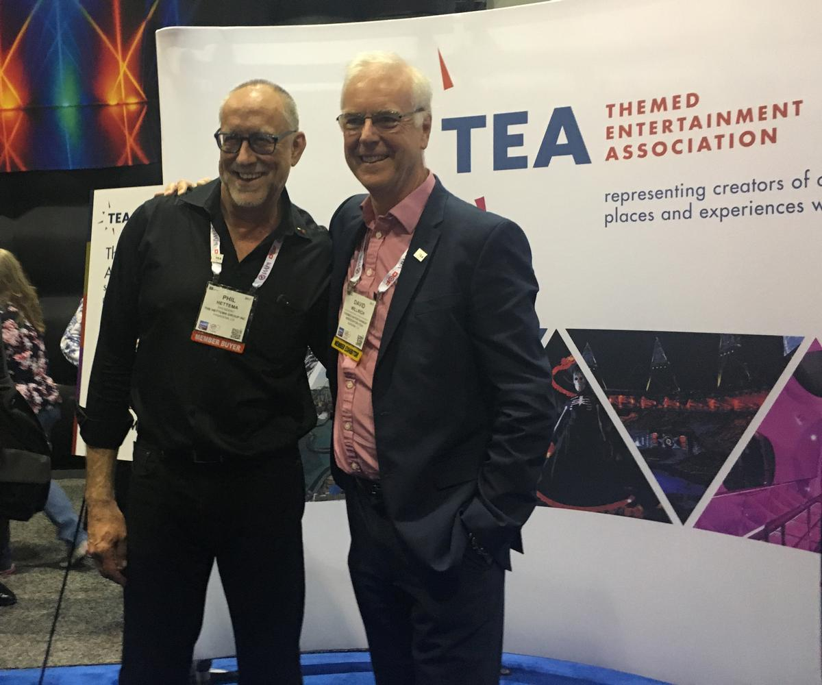 Phil Hettema (left), president and creative executive of The Hettema Group, poses for photos with David Willrich after being announced as winner of the Buzz Price Thea award, which recognises lifetime achievement / Lauren Heath-Jones