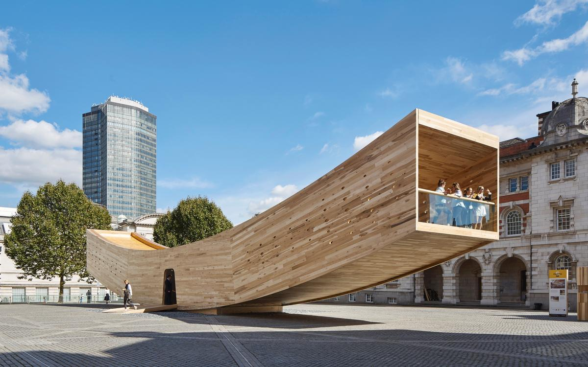 Alison Brooks Architects' landmark installation, The Smile, won the Display - Completed Buildings Display category / WAF
