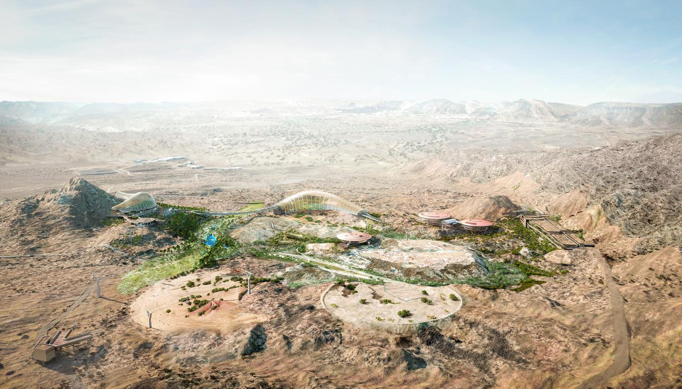 An aerial view of the Oman Botanic Garden / Arup/Grimshaw