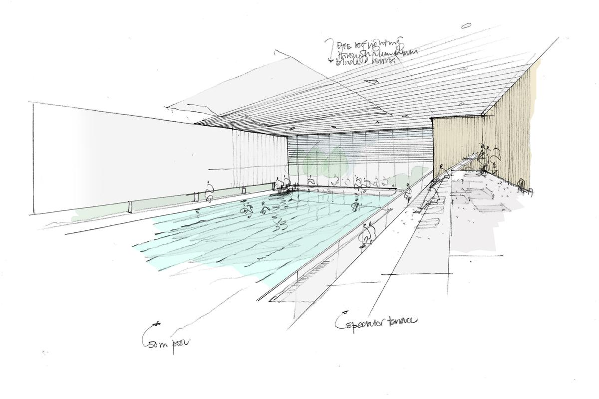 A design shows the 50m swimming pool